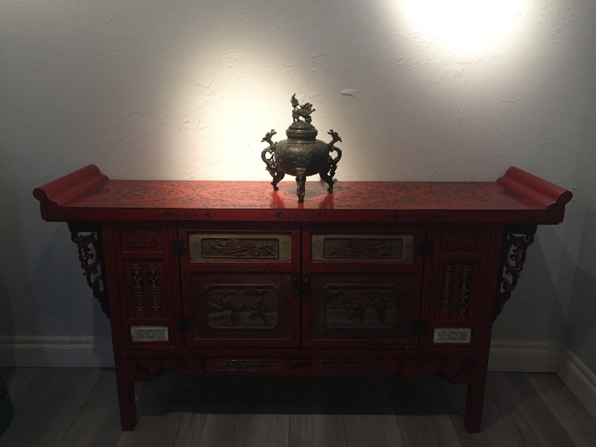 Antique Chinese Red Lacquer Wooden Console Table by Unknown