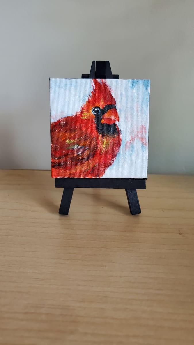 Mini Canvas with Easel - Red Cardinal II by Monika Gupta