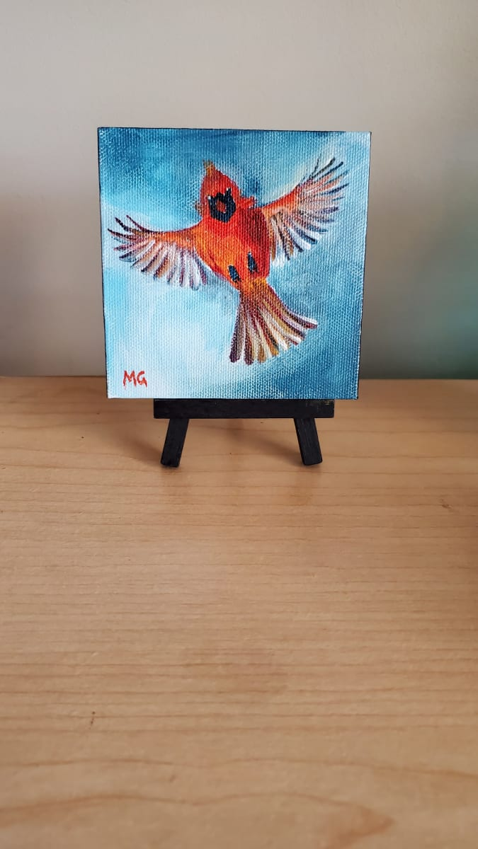 Mini Canvas - Cardinal in Flight by Monika Gupta