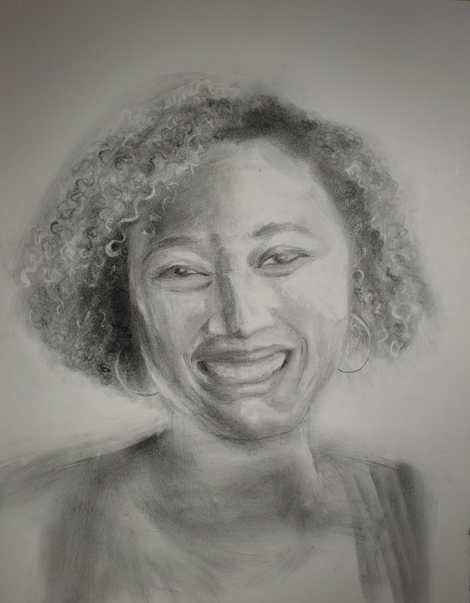 Portrait in Graphite - Amber by Monika Gupta