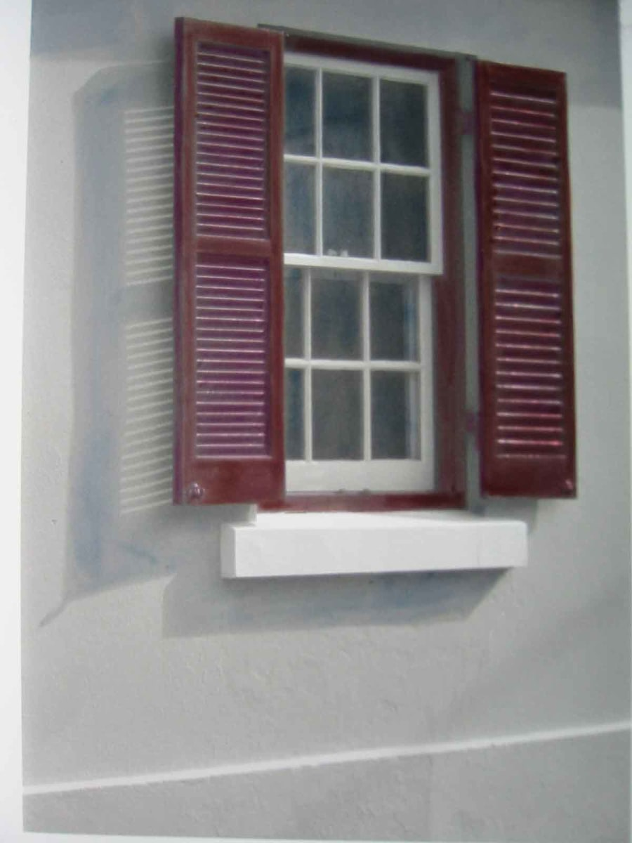 Window with red Shutters by Karen Phillips~Curran