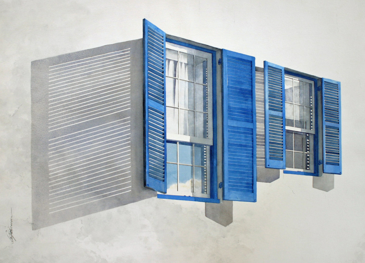 Two Blue Shutters by Karen Phillips~Curran