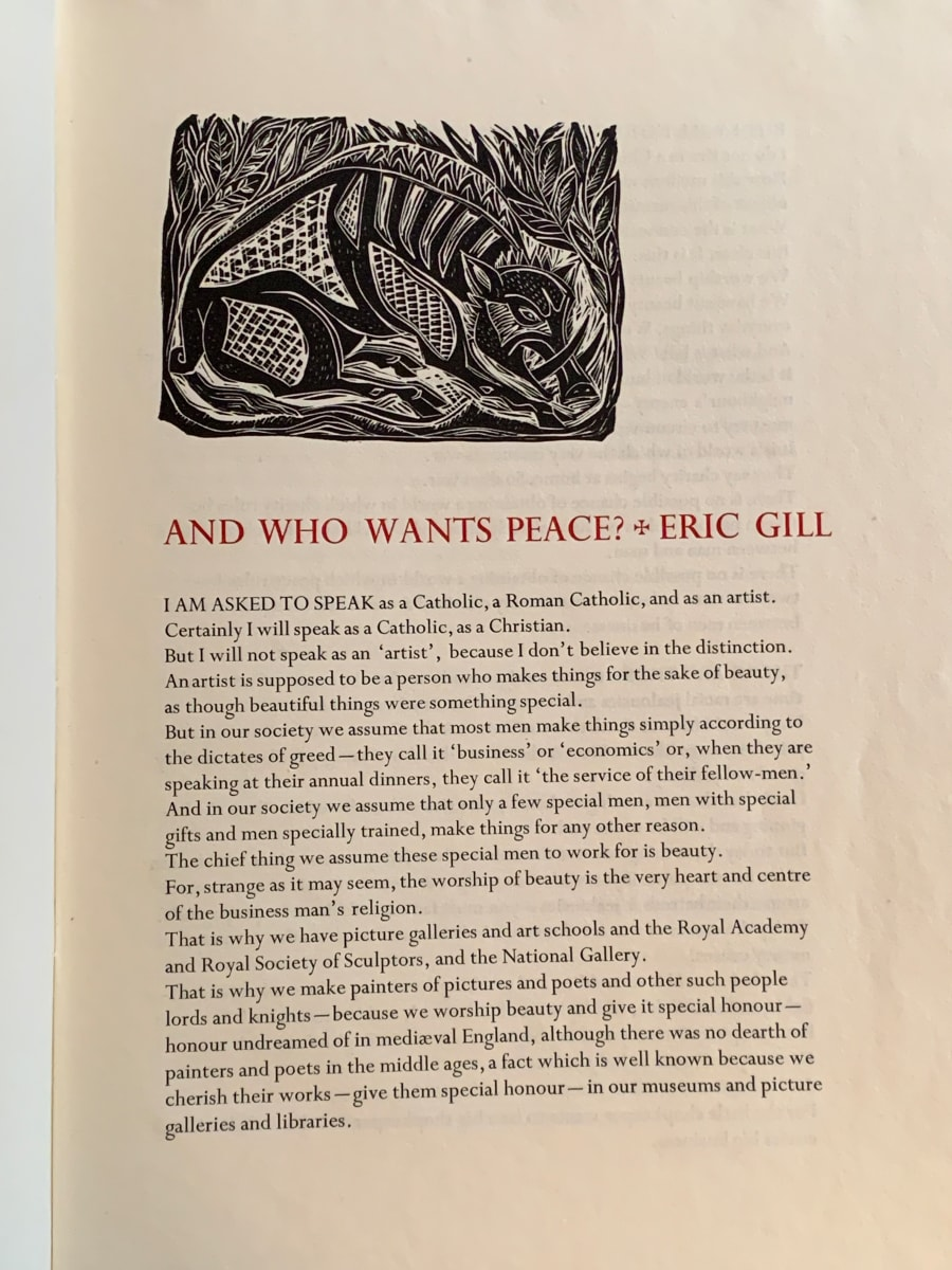 And Who Wants Peace by Eric Gill  Image: Linoleum block by Mary Fabilli