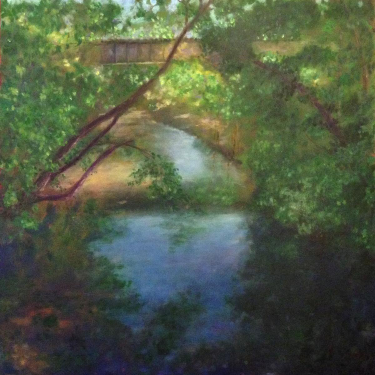 Riverwalk Bridge View West   36.072215N 79.10852W by Thomas Stevens