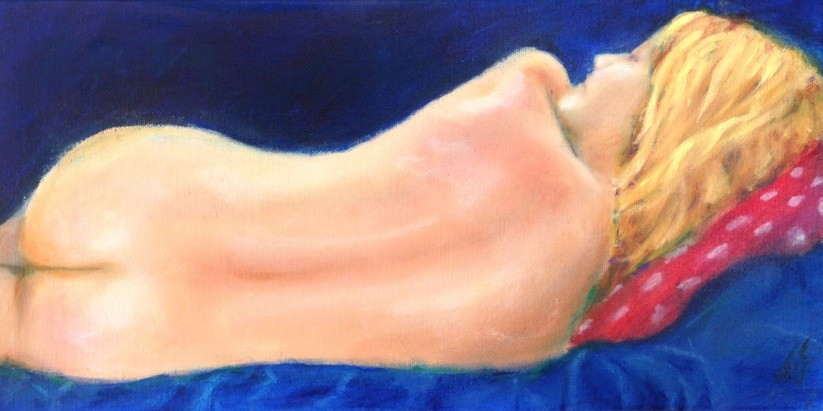Reclining Nude (Blue) by Thomas Stevens