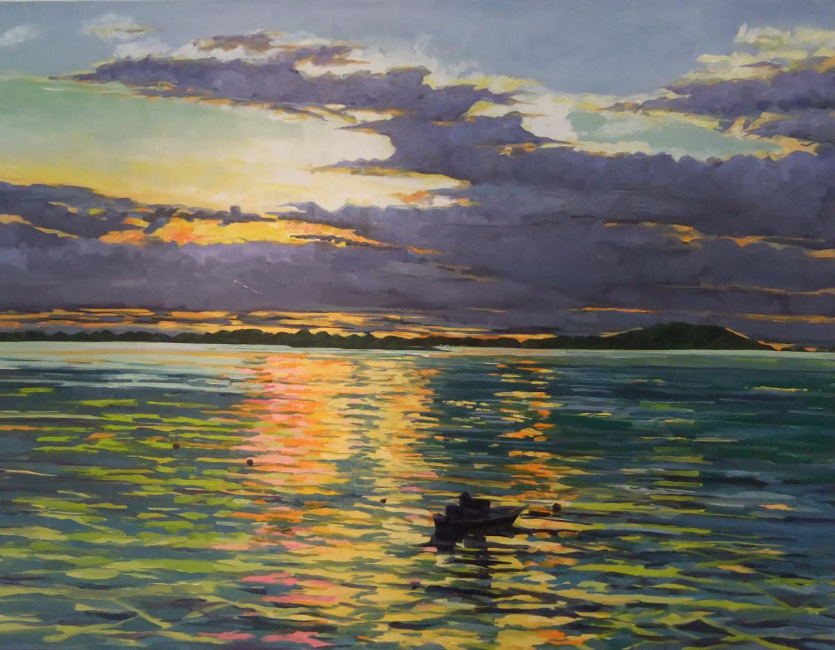 Annisquam Sunset with Boat by Elaine Lisle