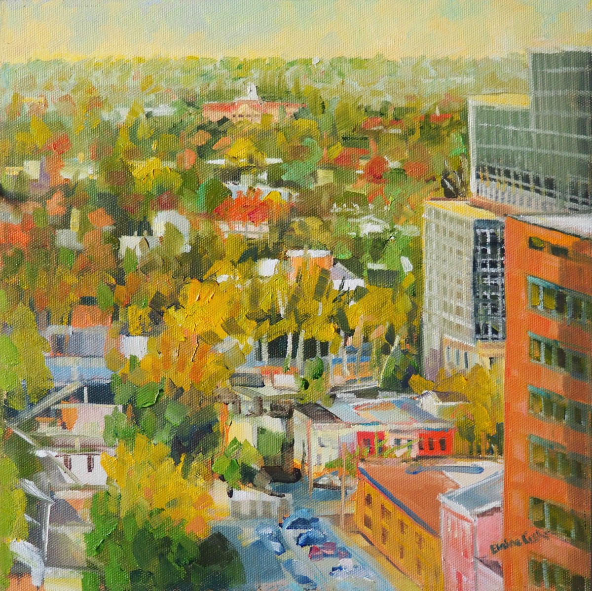 Fall Rooftops by Elaine Lisle