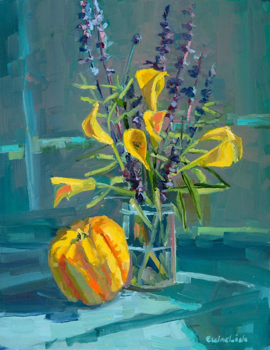 Trumpet bush with gourd by Elaine Lisle