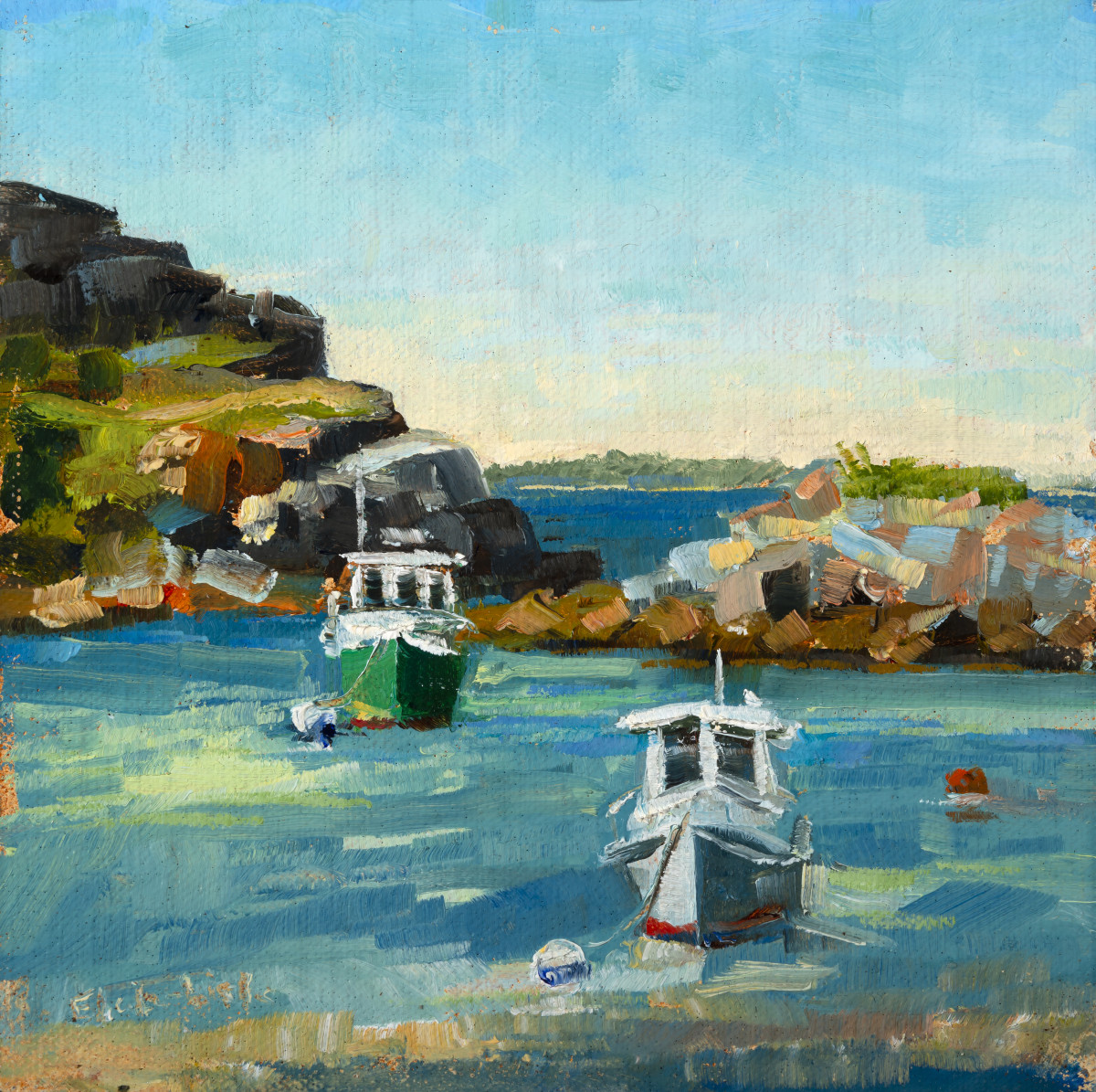 Two Boats in Harbor by Elaine Lisle