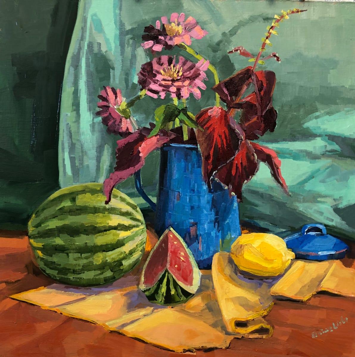 Zinnias in Blue Teapot by Elaine Lisle