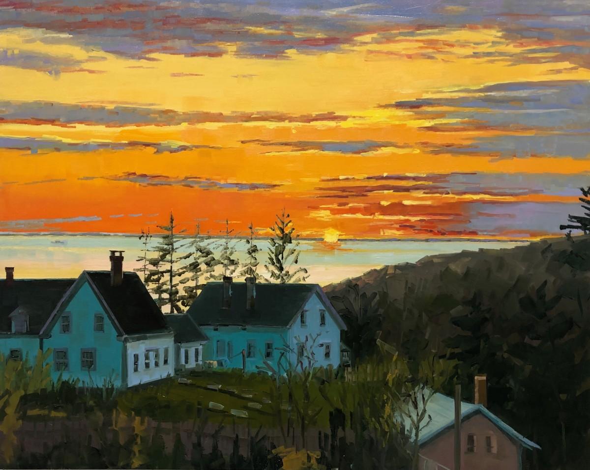 Sunset over trailing Yew by Elaine Lisle