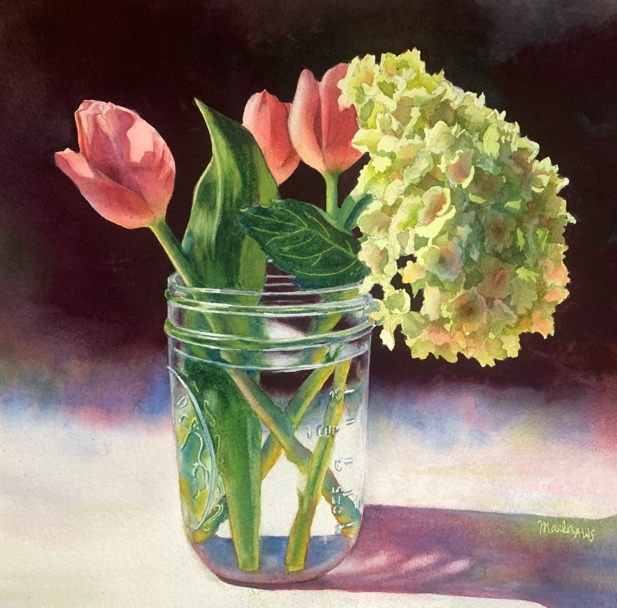 Tulips and Hydrangea by Marla Greenfield