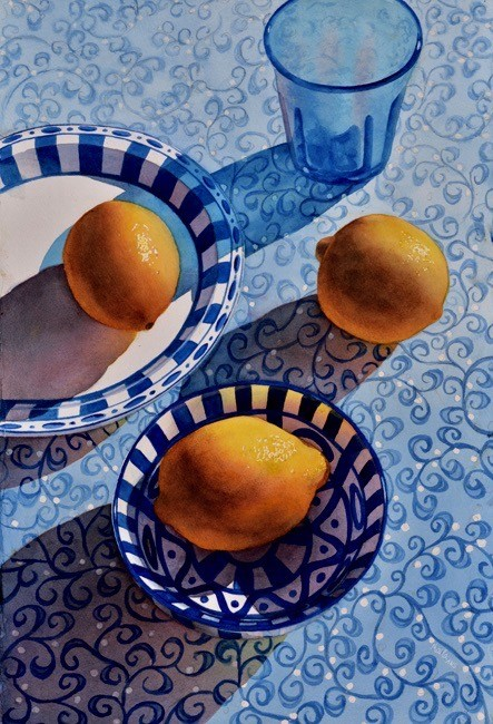 Lemons on Blue by Marla Greenfield