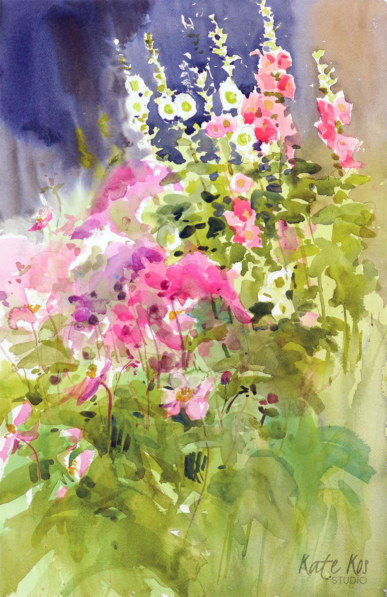 Hollyhocks by Kate Kos