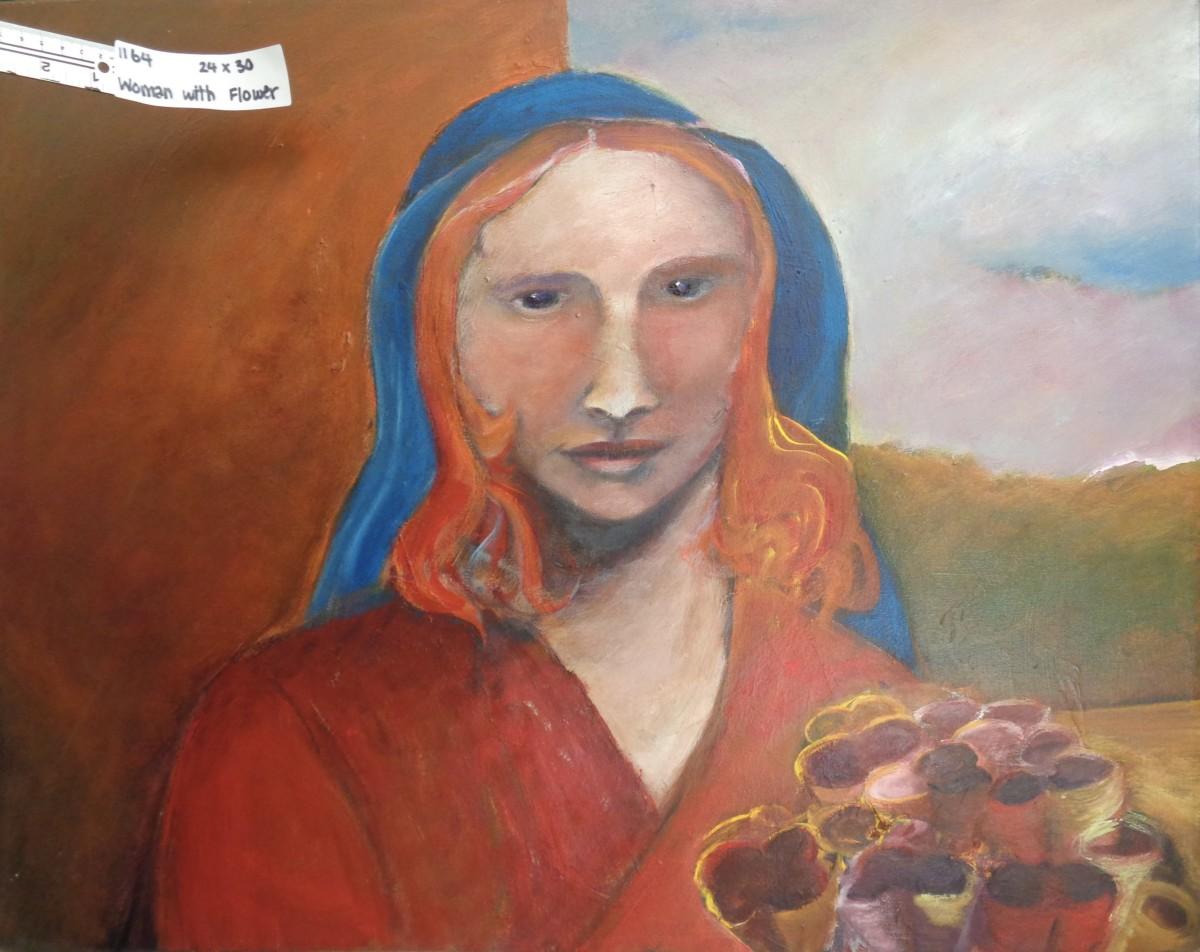 1164 Woman with Flower by Judy Gittelsohn