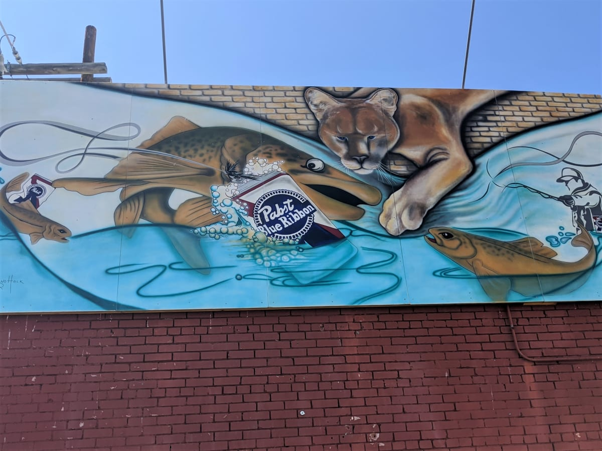 Cougar, Trout, and PBR Mural by Unknown Snottock