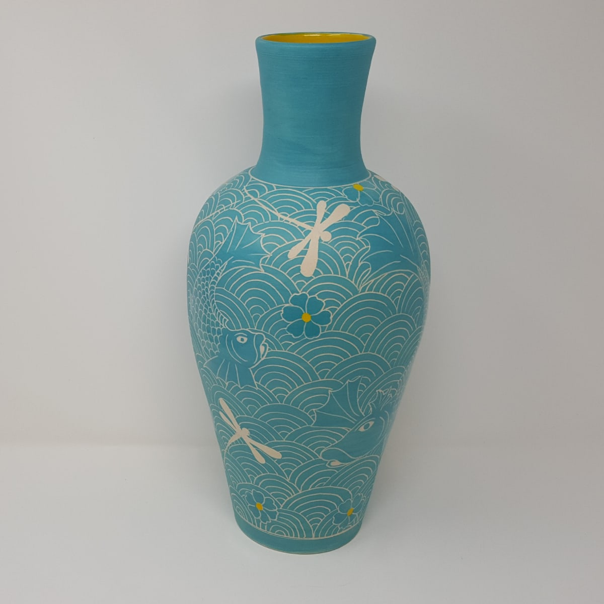 BRI083, Turquoise Fighting Fish Vase by Jane Bridger