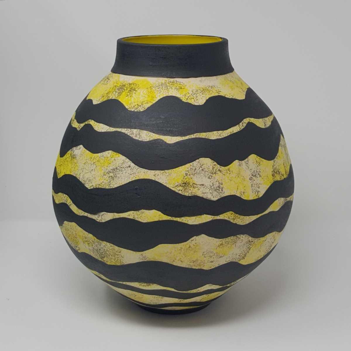 BRI100, Strata Moon Jar by Jane Bridger