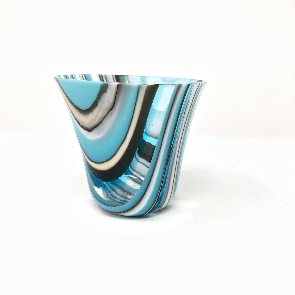 SHI076, Turquoise stripe drop vessel