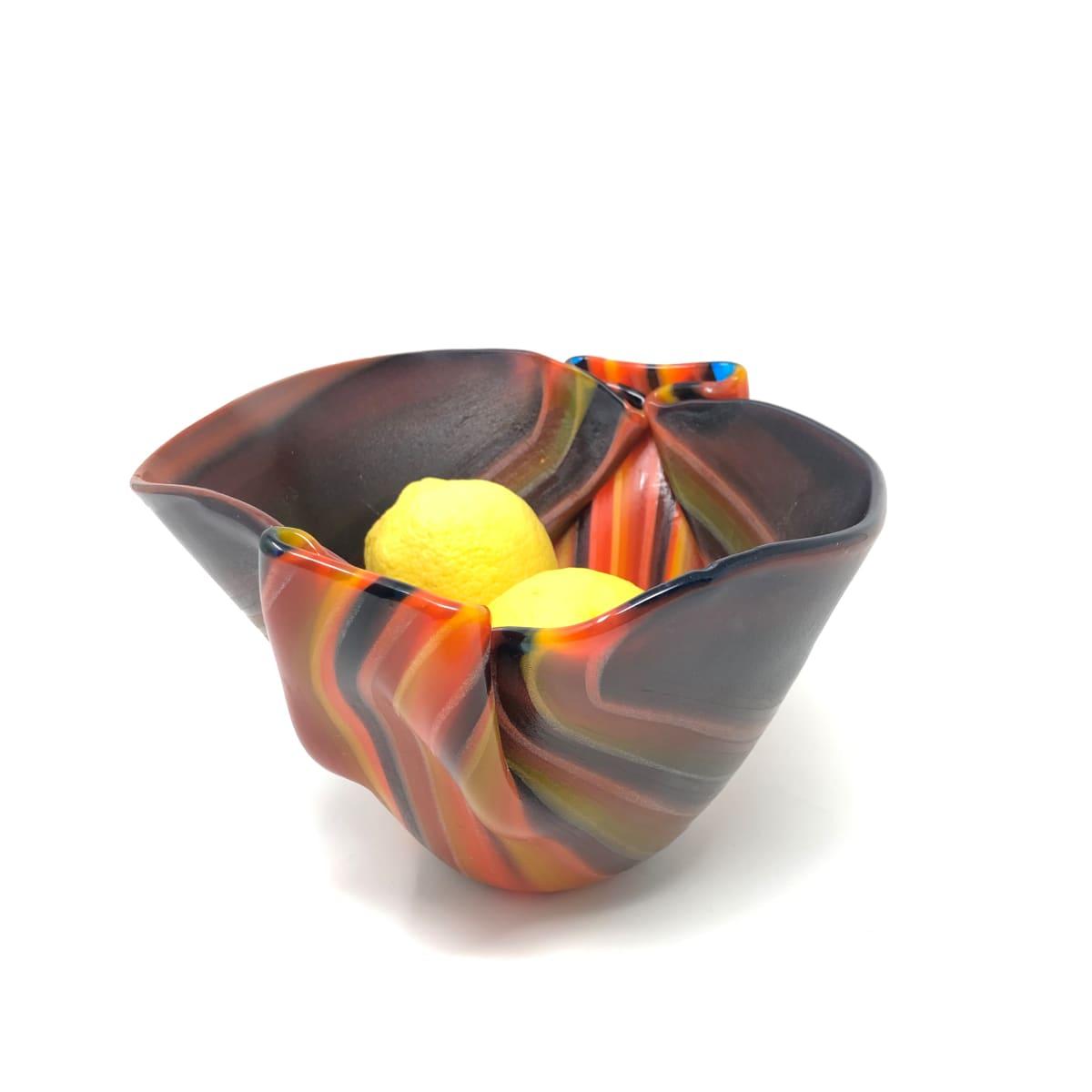 SHI326, Large Orange Drape Bowl by Hilary Shields