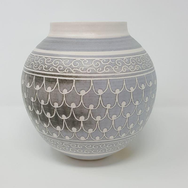 BRI061, Grey Carved Moon Jar by Jane Bridger