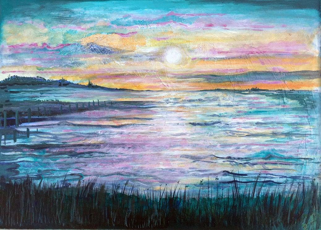 MCD179, Evening Glow at Seasalter by Ruth McDonald