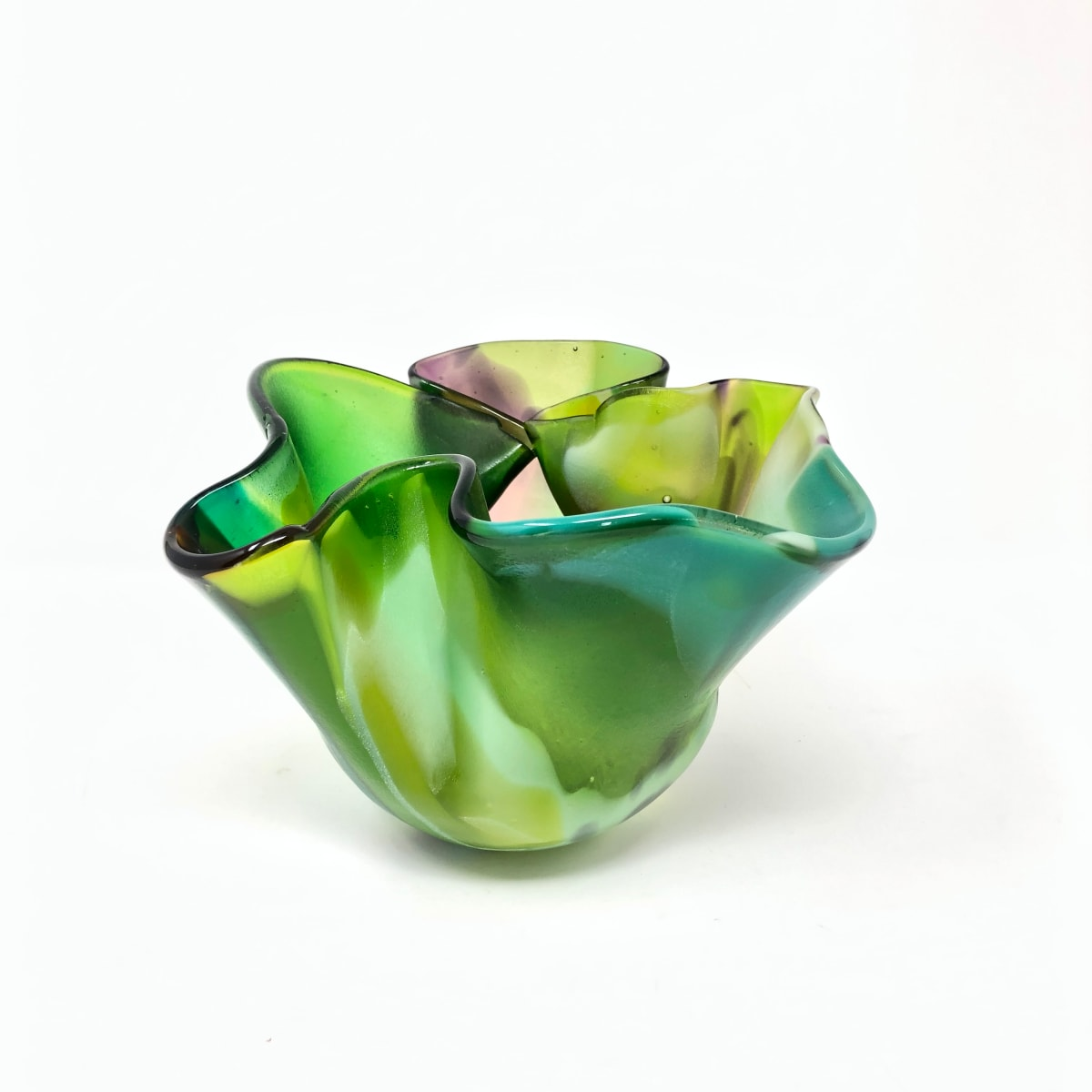 SHI300, Green Squeeze and Fold Vase by Hilary Shields