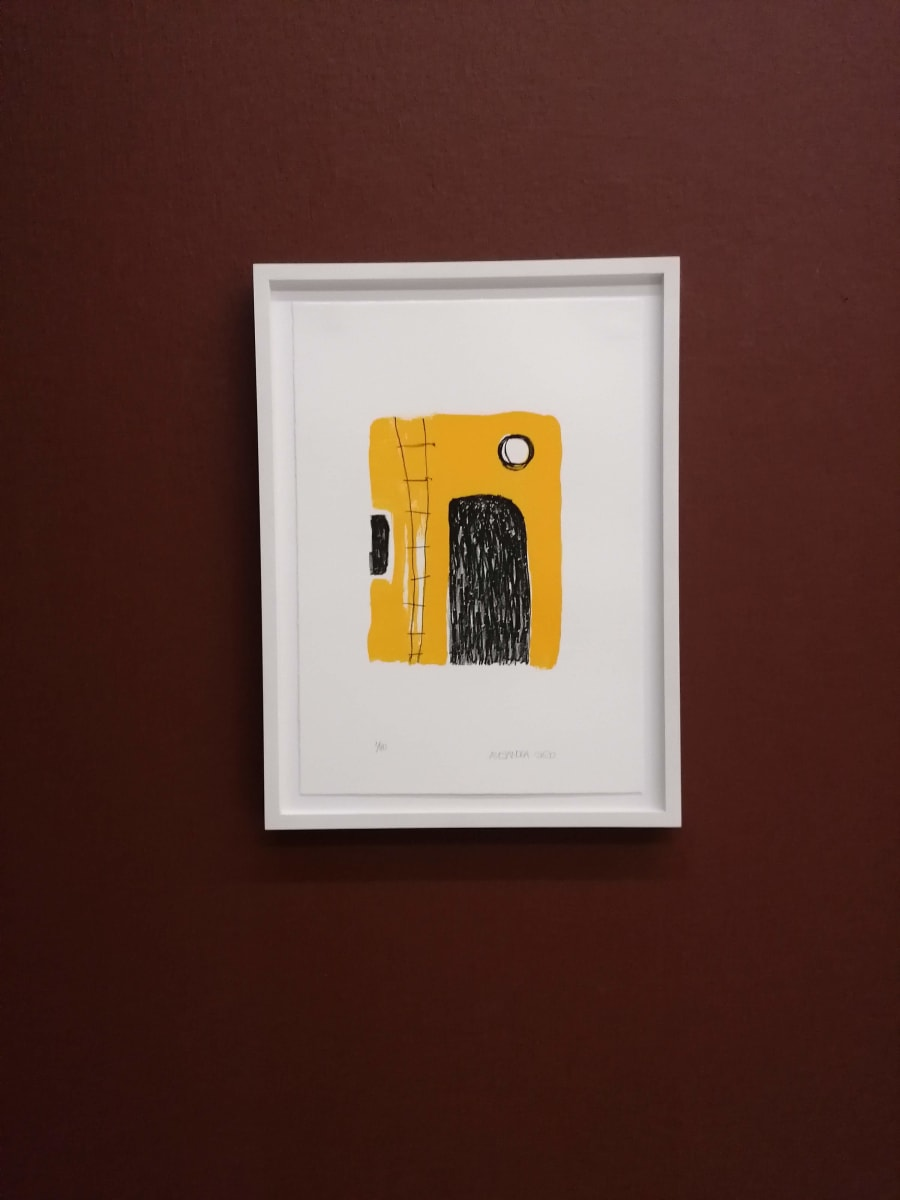 Lithoraphy by Alejandra Jean-Mairet  Image: Lithography framed, as exhibited in Helmhaus Zurich