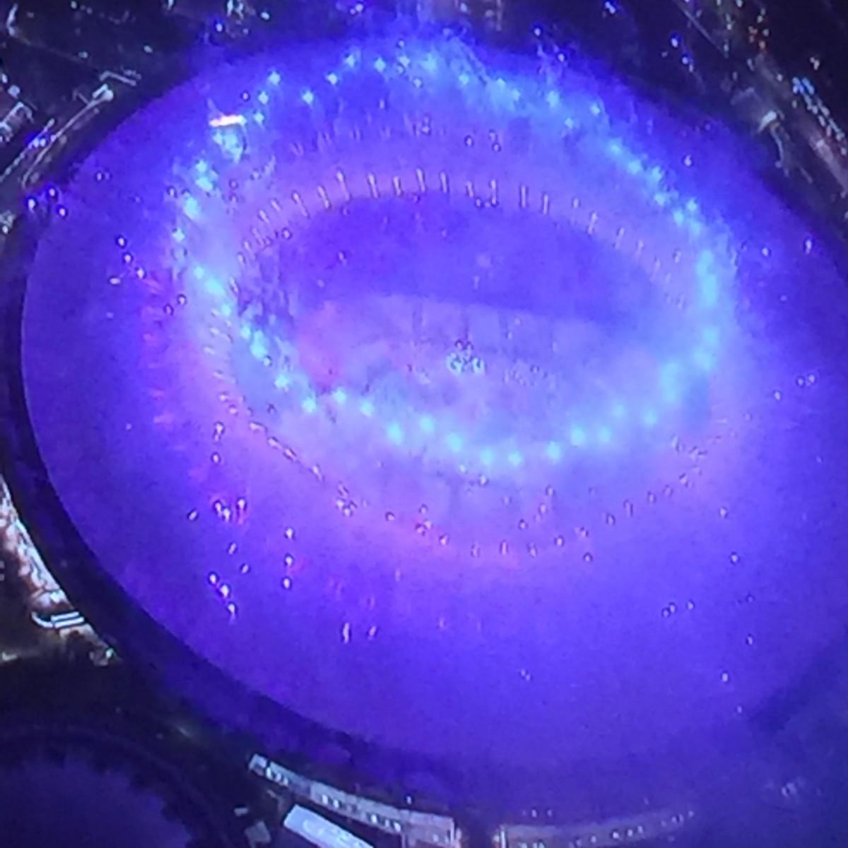 Stadium Lights Blue by Gina Godfrey