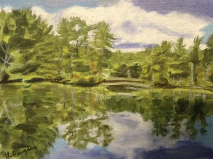 Reflections from covered bridge