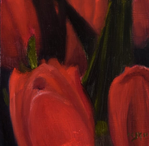 Small Painting of Tulips by Carolyn Kleinberger