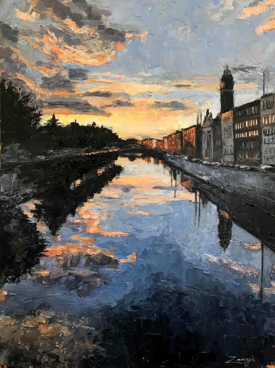 September Sunset, Mellows Bridge, Dublin 2020 by Zanya Dahl