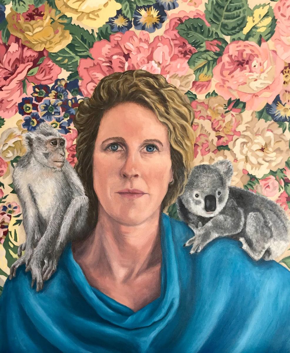 Self-portrait with koala and monkey by Zanya Dahl