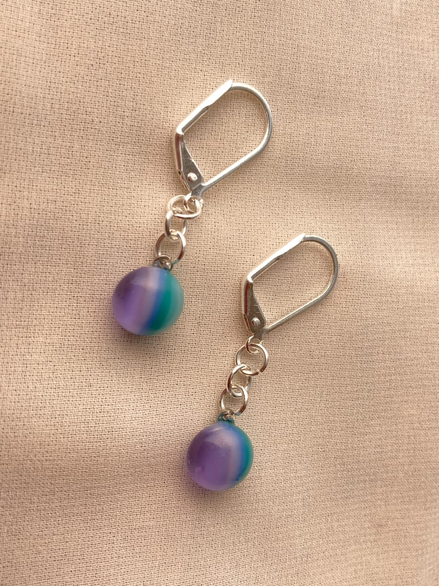 Fused Glass Earrings #35 by Shayna Heller