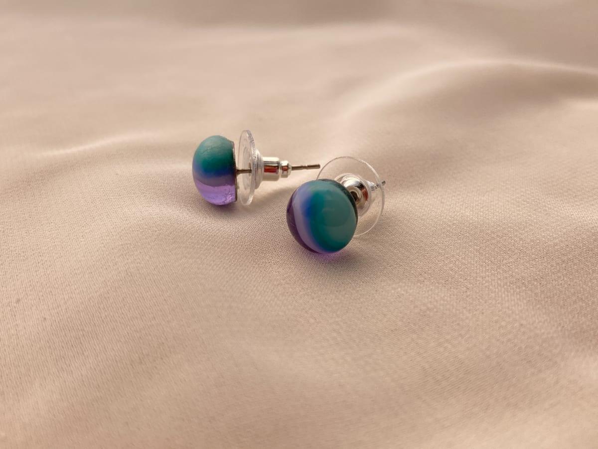 Fused Glass Earrings #37 by Shayna Heller