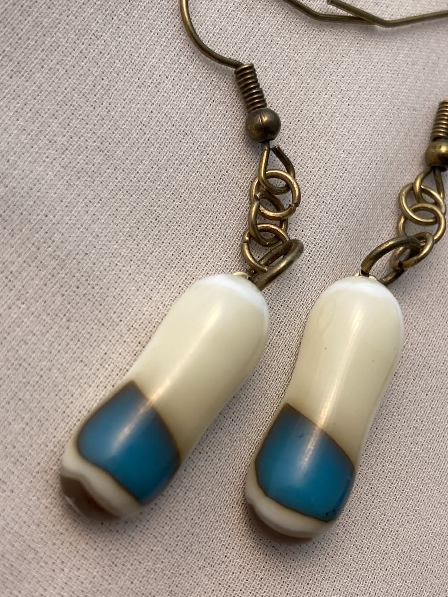 Fused Glass Earrings #29 by Shayna Heller