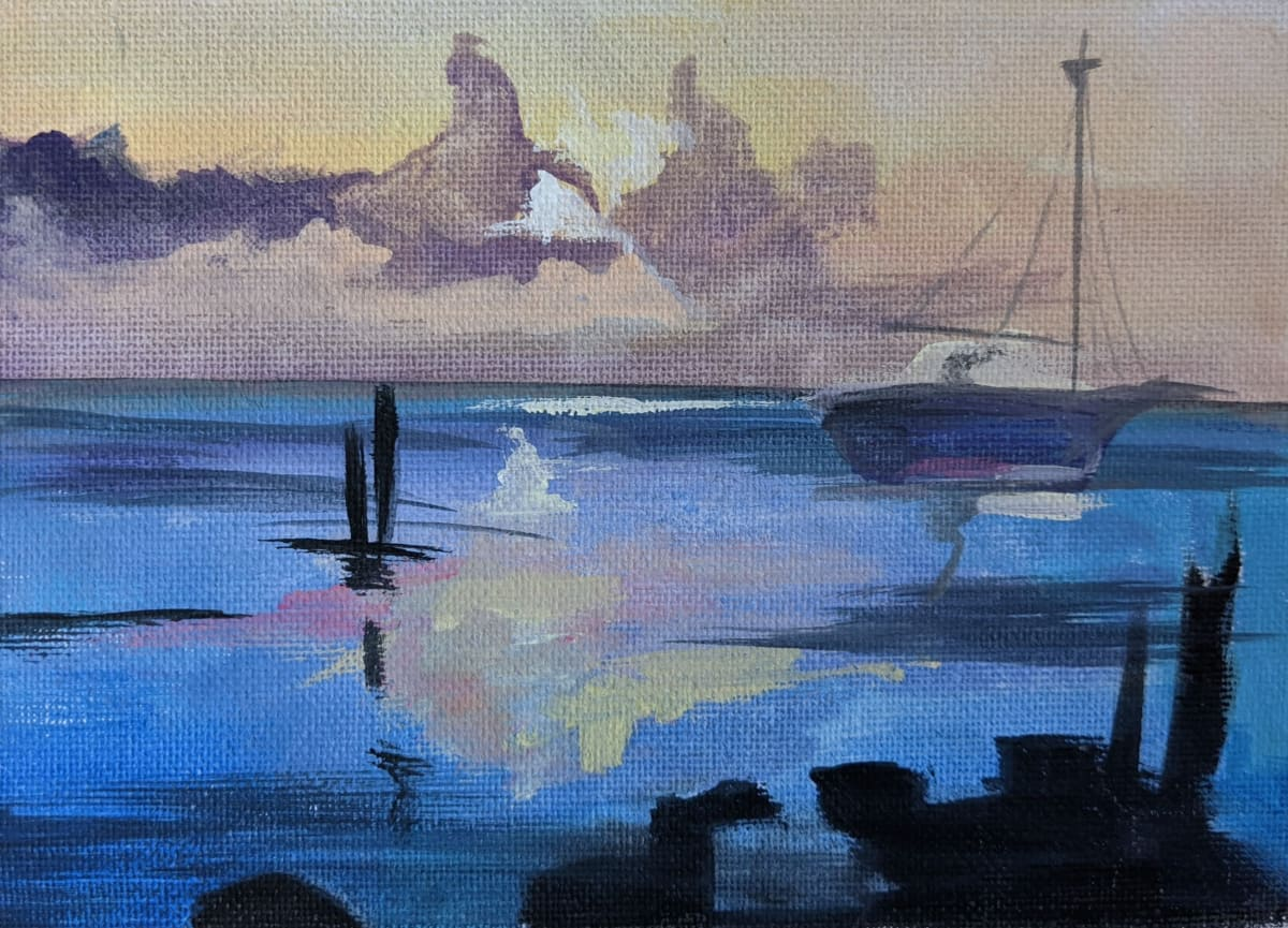 Blue Seascape by Maria Kelebeev