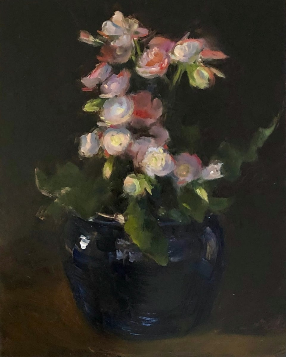 Floral, Blue Pot by Laurie Maher