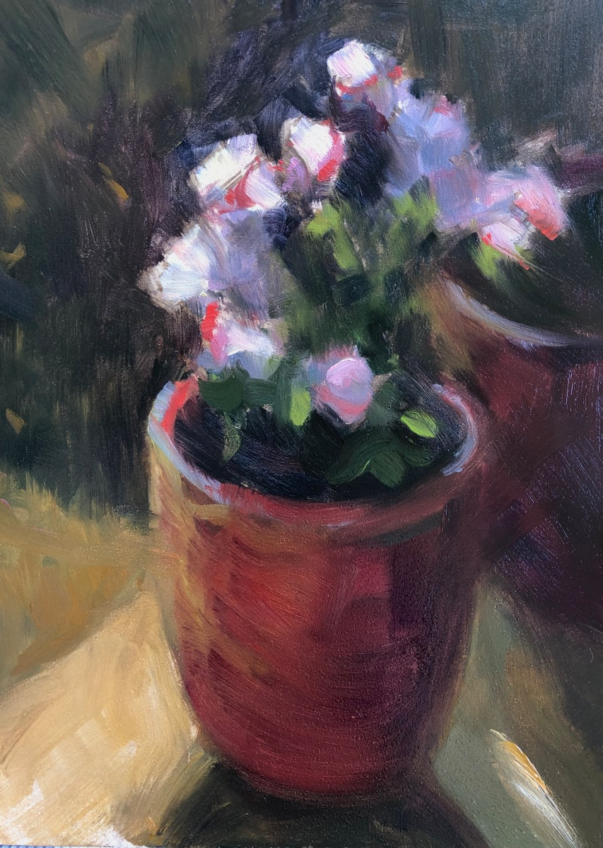 Pink flowers in Red Pot by Laurie Maher