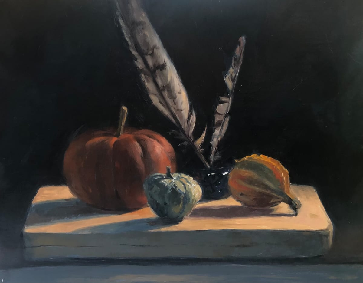 Still Life with Inkwell and Feathers by Laurie Maher