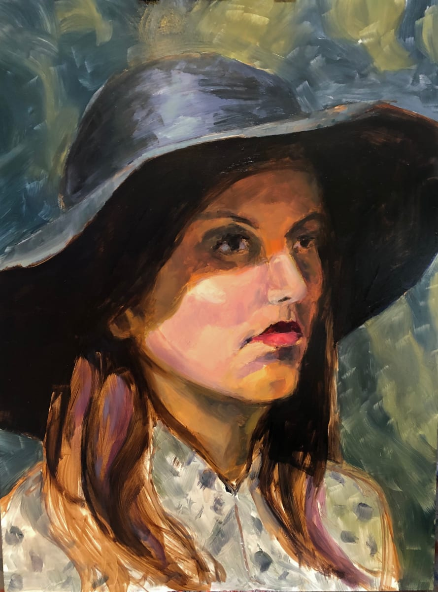 Portrait of Catherine with Hat by Laurie Maher