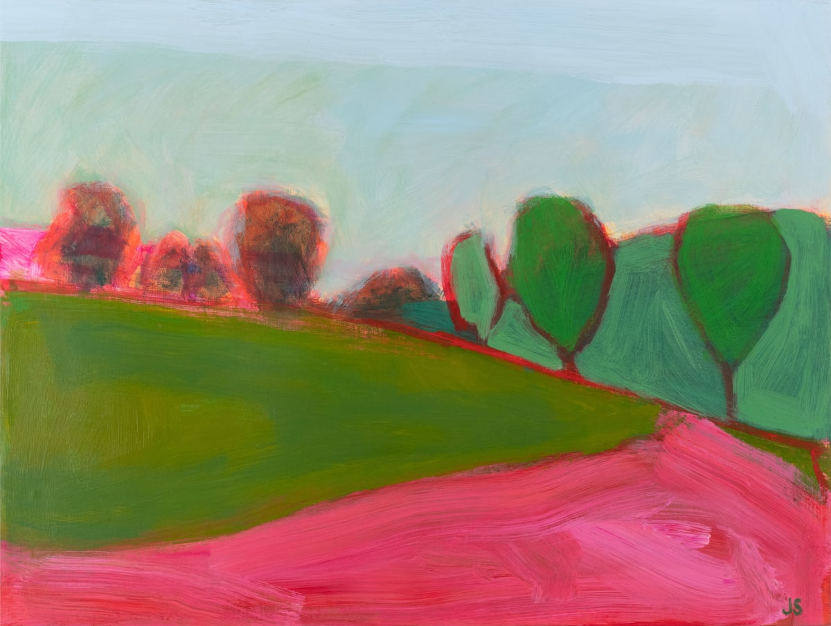 Field and forest with pink by Jessica Singerman