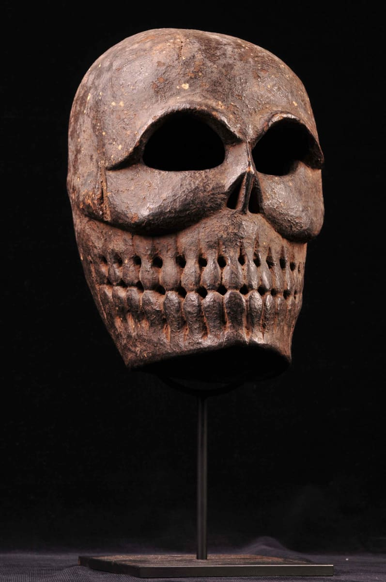 Tibetan Carved Wooden Mask by Unknown