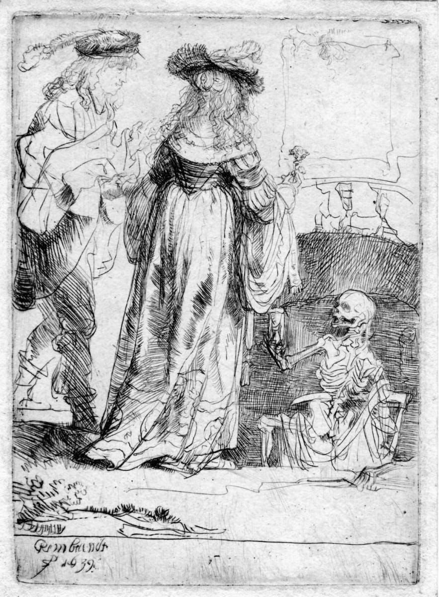 Death Appearing to a Wedded Couple from an Open Grave by Rembrandt van Rijn