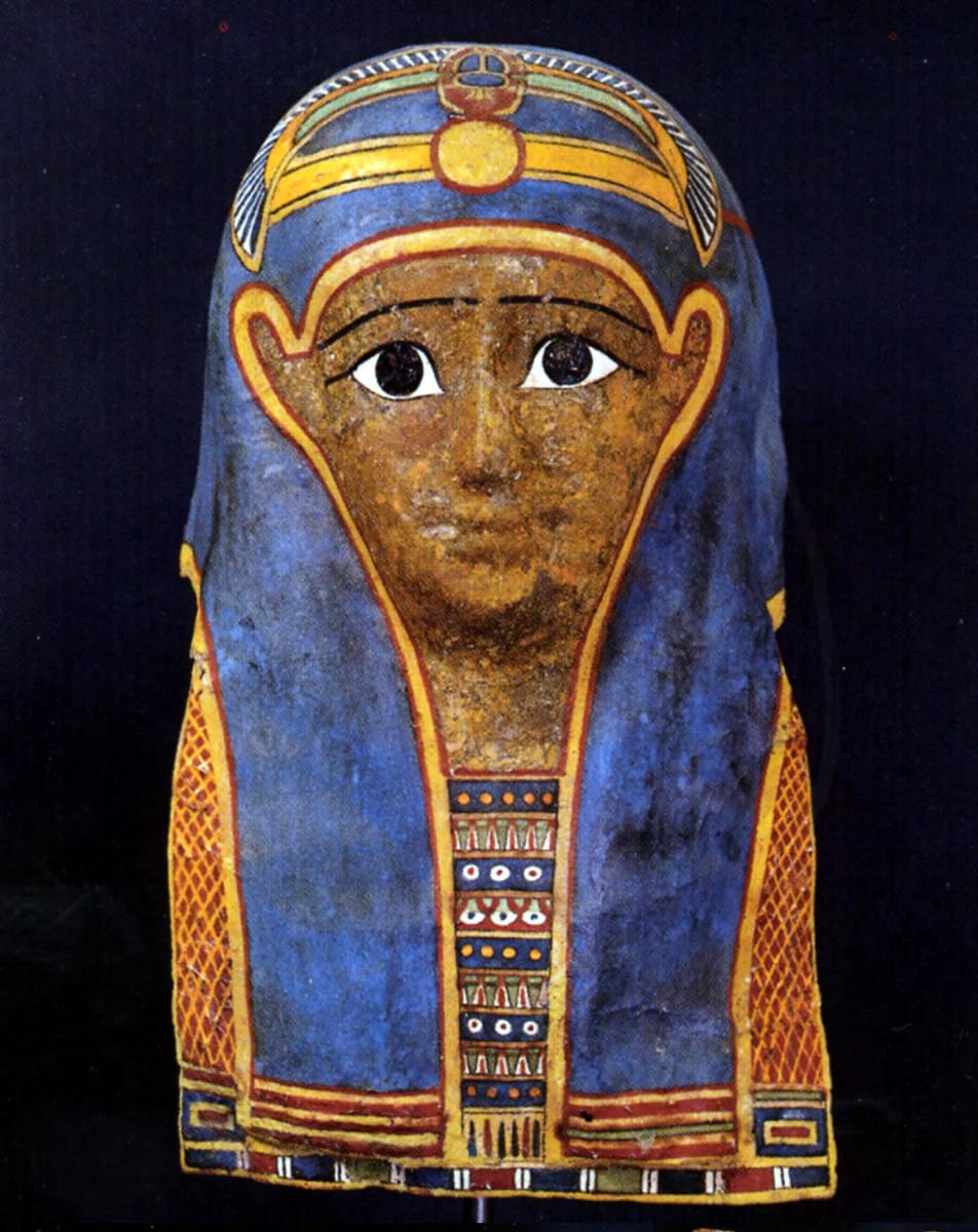 Egyptian Ptolemaic Mummy Mask Cartonnage with a Winged Scarab on Forehead (1) by Unknown