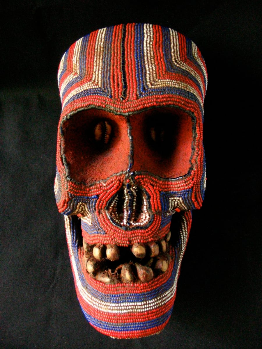 Cameroon Beaded Skull Mask by Unknown