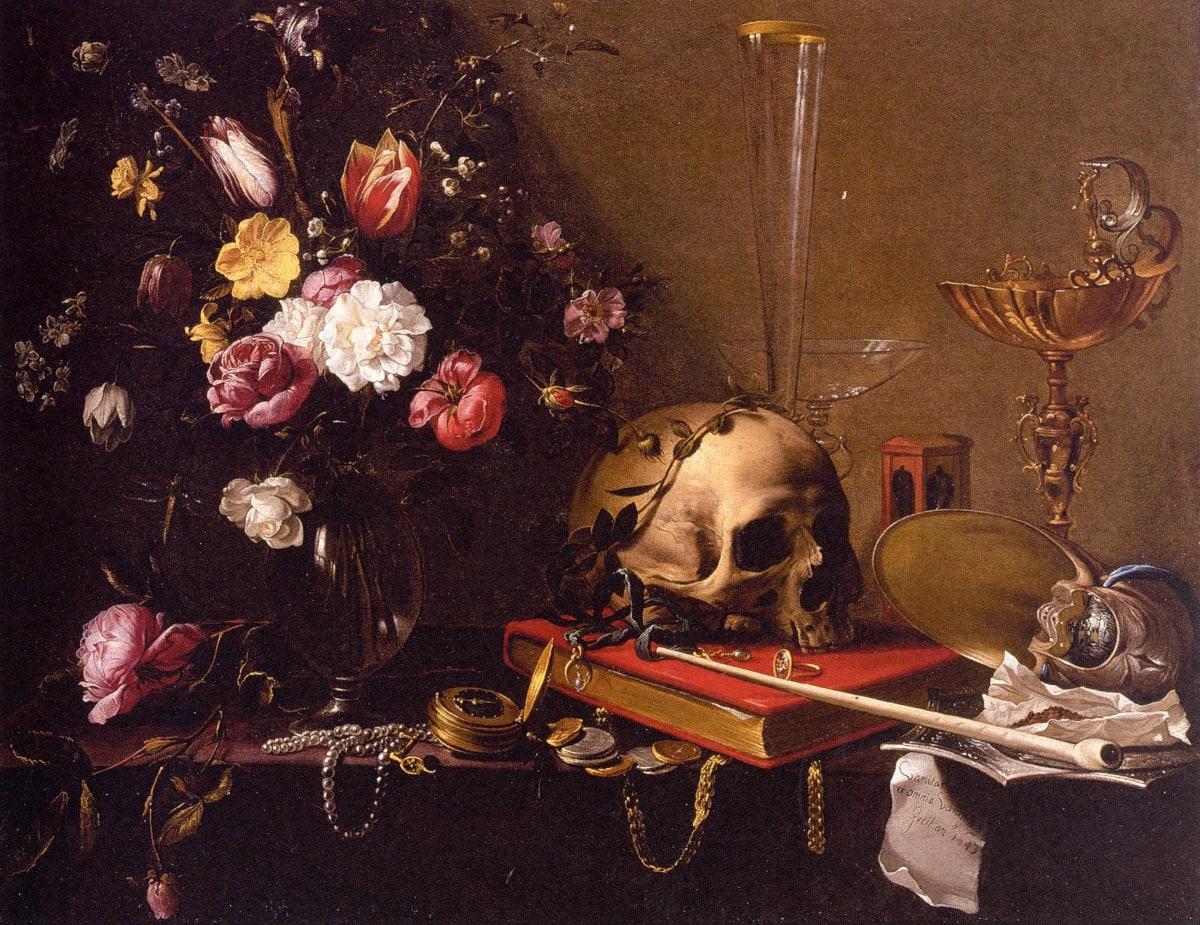 Vanitas Still Life with a Bouquet and a Skull by Adriaen van Utrecht