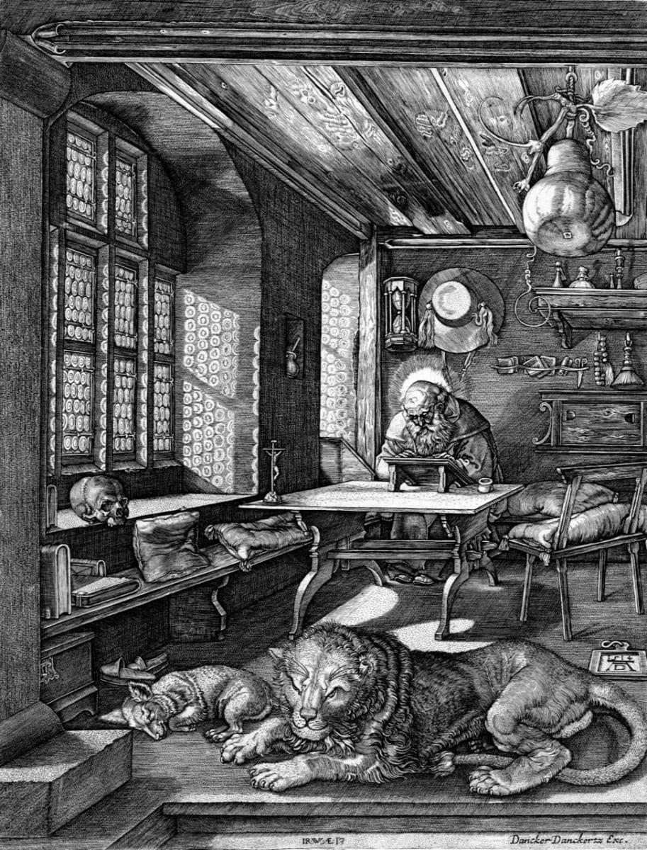 Der Heilige ieronymous im...(St. Jerome in his Cell) by Johann Wierix