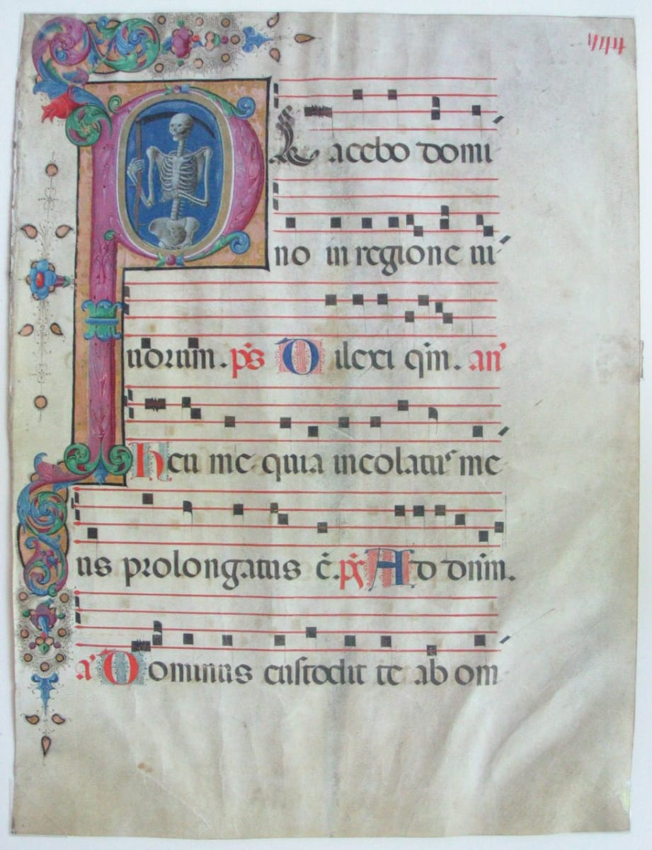 Leaf with a Historiated Initial (Text from the Office of the Dead) by Unknown