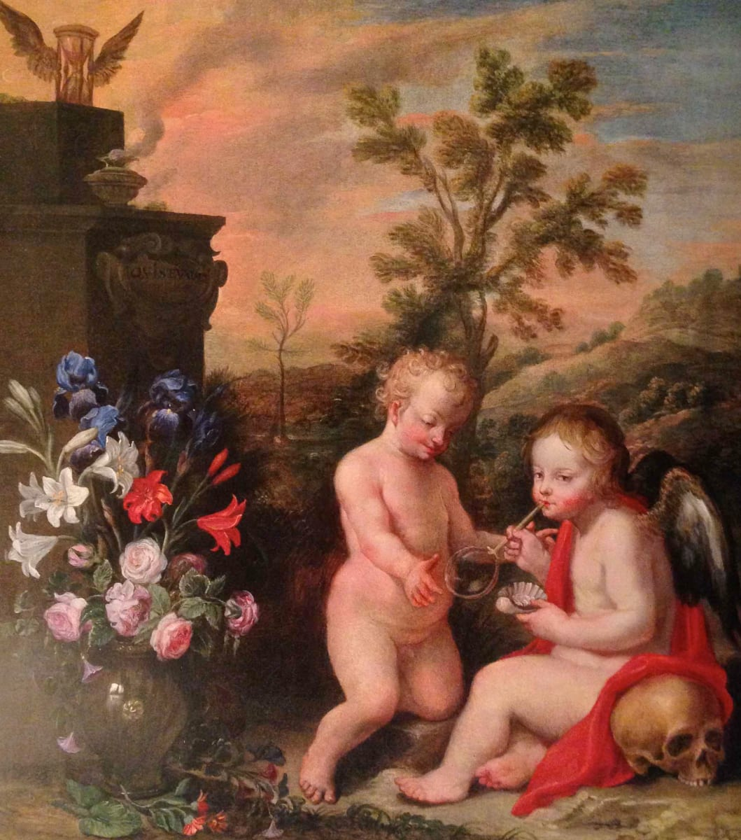 Vanitas- Allegory with Putti in Landscape by Dutch School